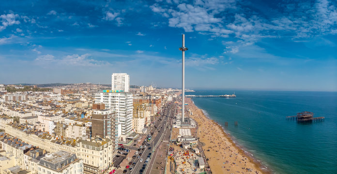 Aerial view of Brighton in sunny day, England