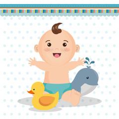 baby shower card with little boy vector illustration design