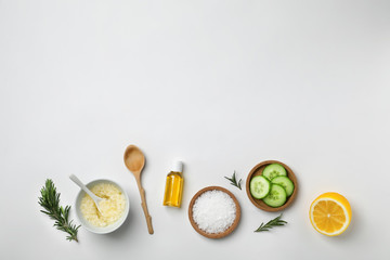 Fresh ingredients for homemade effective acne remedy on white background