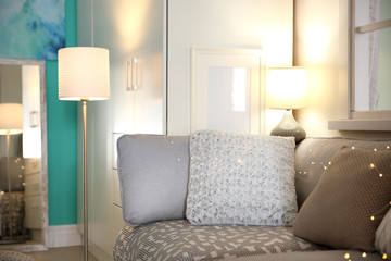 Stylish living room interior with floor lamp