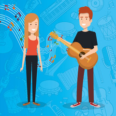 music festival live with couple playing guitar vector illustration design