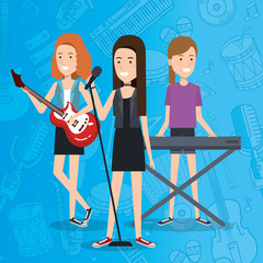 music festival live with women playing instruments and sing vector illustration