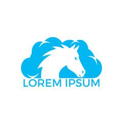 Horse head and cloud logo design.