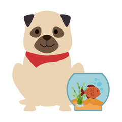aquarium bowl with colors fish and dog vector illustration design