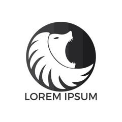 Lion head logo vector. Wild lion head graphic illustration.
