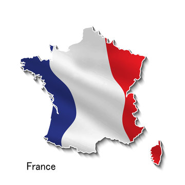 Map of France with national flag in 3d.