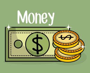 save money coins and bills vector illustration design