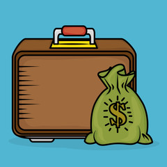 save money bag with portfolio vector illustration design