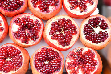 Pomegranate healthy background. Fresh Fruit.