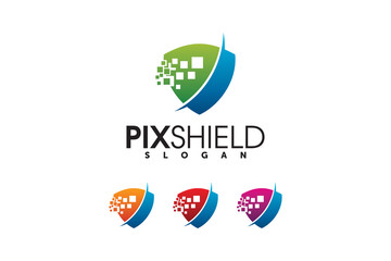 tech shield security logo design template element