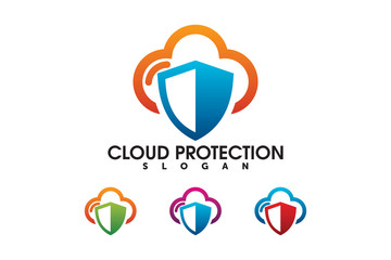 cloud security shield protection logo company design template element