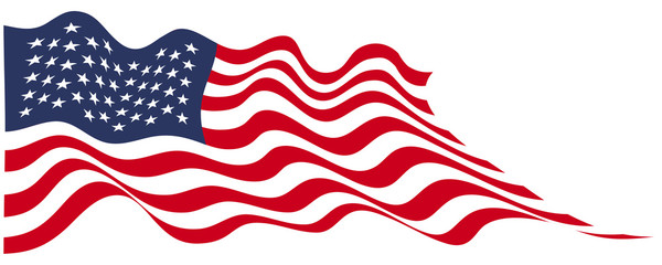 USA flag flying on white vector illustration.