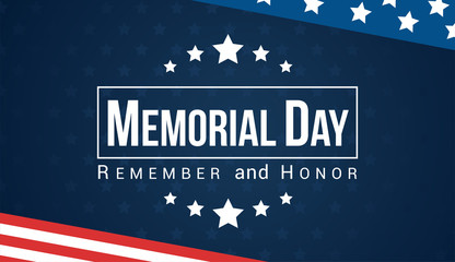 Memorial Day - Remember and honor with USA flag, Vector illustration. Fotomurales
