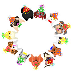 sitting small dogs and cats with party hats looking up circle