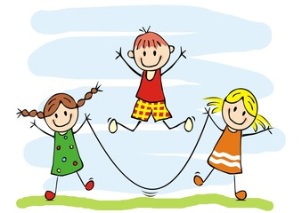 Happy kids and jump rope, two girls and one boy, vector funny icon