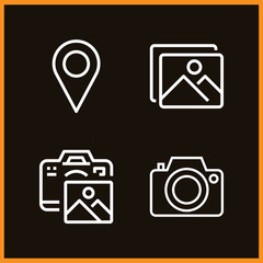 Set of 4 picture outline icons