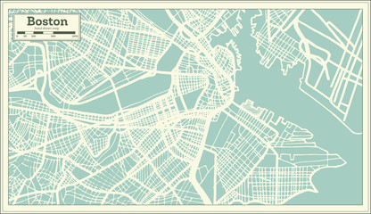 Boston USA City Map in Retro Style. Outline Map.