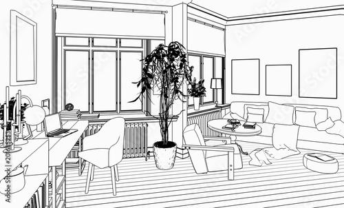 Charmant Wohnzimmer Mit Einrichtung (Skizze)
