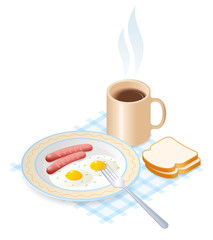 Flat isometric illustration of dish with scrambled eggs and pork sausages, a cup of coffee. The breakfast: fried omelette, fork, sausages, a mug of hot coffee. Vector isolated on white background.
