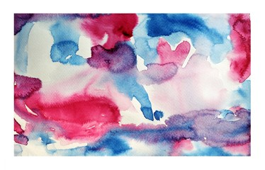Pattern pink and blue on white surface , Illustration abstract watercolor hand draw on paper