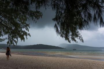 Rainy season at Koh Rong Samloem Island. Dark clouds gathering at the horizon. Saracen Bay, Cambodia.
