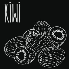 Isolate ripe kiwi fruit as chalk on blackboard. Close up clipart in chalkboard style. Hand drawn icon