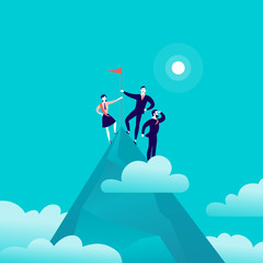 Vector flat illustration with business people standing on mountain peak top holding flag on blue clouded sky background. Victory, achievement, reaching aim, partnership, motivation, leader - metaphor.