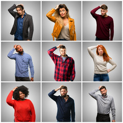 Group of mixed people, women and men doubt expression, confuse and wonder concept, uncertain future