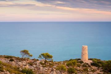 Torre de La Corda junto al mar Mediterráneo. Orpesa. Castellón. España
