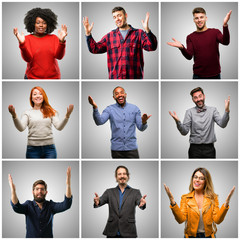 Group of mixed people, women and men confident and happy with a big natural smile welcome gesture