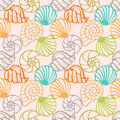 Seamless pattern with colorful sea shells