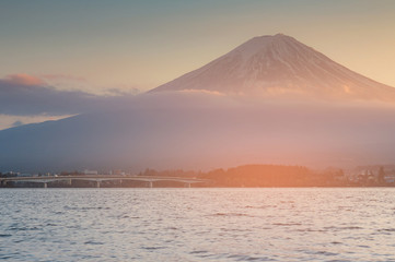Fuji mountain over Kawaguchiko water lake, Japan natural landscape background
