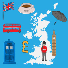 Tourist concept - UK symbols, drawn in pencil. Union Jack flag, Big Ben, royal guard, a cup of tea, umbrella, a London bus, a police box and the Pound Sterling symbol