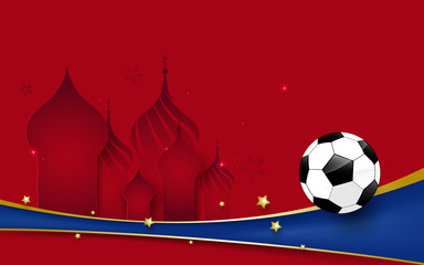 Football 2018 world soccer championship. Football on Basil s Cathedral and blue line background