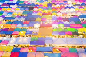 Beautiful multiple colour market top view, cityscape background