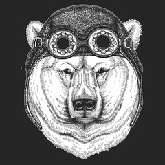 Big polar bear, White bear Hand drawn illustration for tattoo, t-shirt, emblem, badge, logo, patch Cool animal wearing aviator, motorcycle, biker helmet.