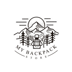 backpack and mountain illustration logo