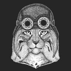 Wild cat Lynx Bobcat Trot Hand drawn image for tattoo, emblem, badge, logo, patch Cool animal wearing aviator, motorcycle, biker helmet.