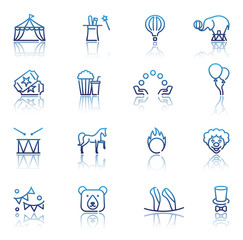 Circus icons set in linear style