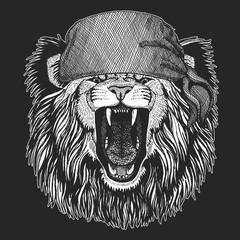 Wild lion Cool pirate, seaman, seawolf, sailor, biker animal for tattoo, t-shirt, emblem, badge, logo, patch. Image with motorcycle bandana