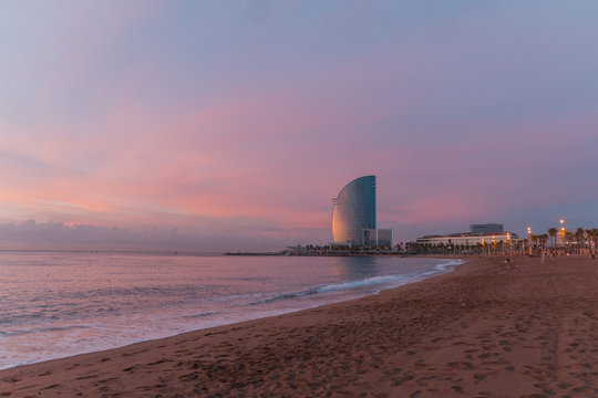hotel in barcelona beach sunset