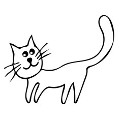 Cartoon cute cat hand drawn icon vector line art illustration