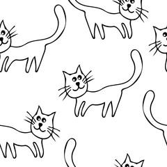 Cartoon cute cat hand drawn icon vector line art illustration
