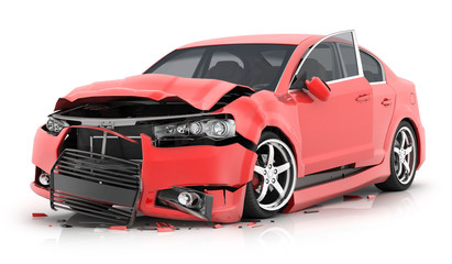 Red car crash on isolated white background