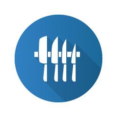 Knives set flat design long shadow glyph icon