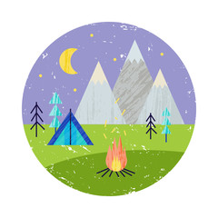 Vector summer colorful illustration, travelling, holidays. Hiking trip, mountains, barbeque