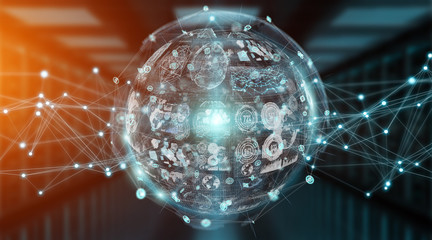 Digital sphere and holograms datas 3D rendering