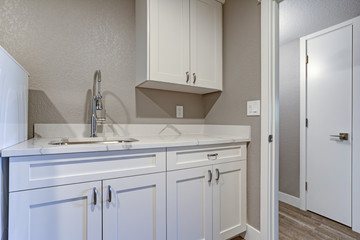 Laundry room with taupe walls and marble top cabinets.