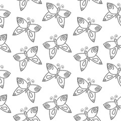 Butterfly line decorative elements isolated on the white background
