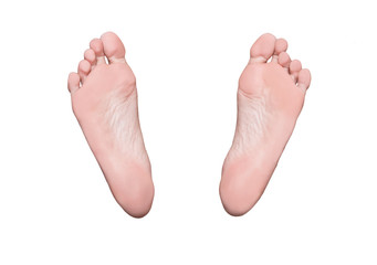 Left and right foot soles, female feet, medical or massage concept